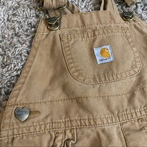 12m baby carhartt bibs overalls with heart buttons